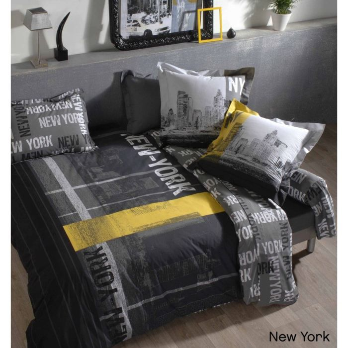 housse de couette new york coton 240x220 achat vente pas cher. Black Bedroom Furniture Sets. Home Design Ideas