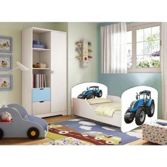 lit enfant tracteur sommier matelas 160x80 cm achat vente lit complet lit enfant tracteur. Black Bedroom Furniture Sets. Home Design Ideas