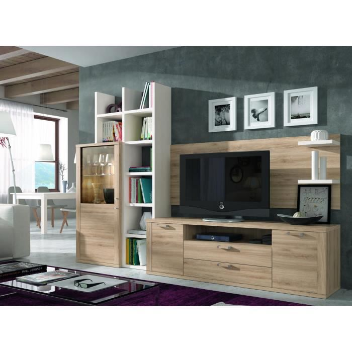 ensemble bibliotheque et meuble tv kaiss chene clair polar 21850 achat vente meuble tv. Black Bedroom Furniture Sets. Home Design Ideas