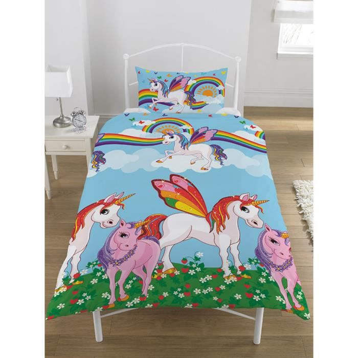 licorne housse de couette achat vente licorne housse. Black Bedroom Furniture Sets. Home Design Ideas