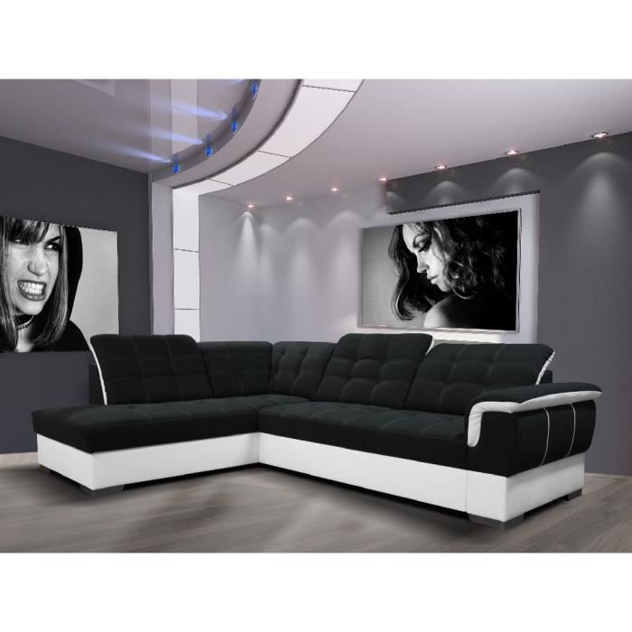 canap d 39 angle convertible clara noir et blanc agnle gauche achat vente canap sofa. Black Bedroom Furniture Sets. Home Design Ideas