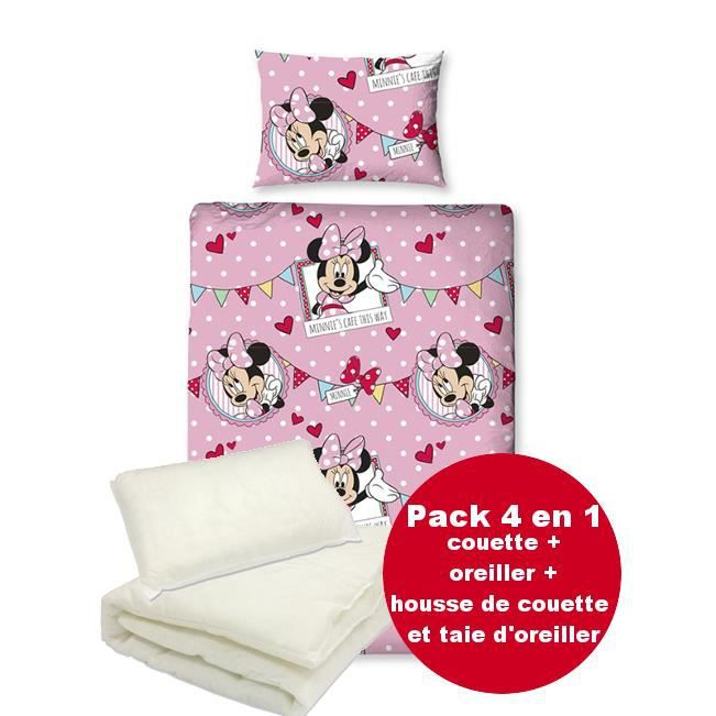 Pack 4 en 1 literie minnie disney couette housse for Literie couette