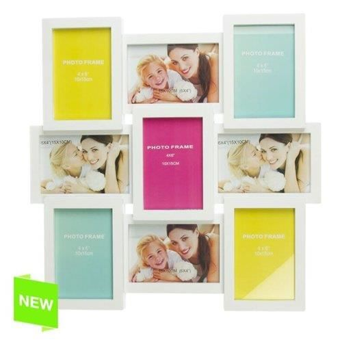 cadre photo multiple 9 photo blanc achat vente cadre photo cdiscount. Black Bedroom Furniture Sets. Home Design Ideas