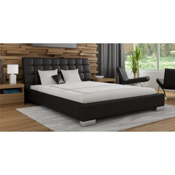 justhome monica lit en cuir noir 160 x 200 cm achat vente structure de lit justhome monica. Black Bedroom Furniture Sets. Home Design Ideas