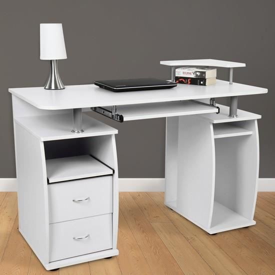 bureau avec tablette pour clavier en blanc achat vente bureau bureau avec tablette pour c. Black Bedroom Furniture Sets. Home Design Ideas