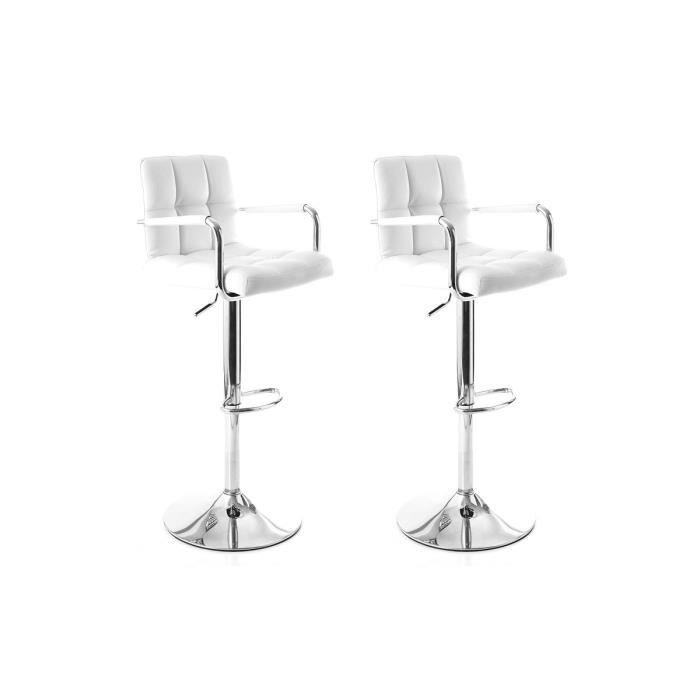 miliboo lot de 2 tabourets de bar design blan achat vente tabouret de bar acier chrom. Black Bedroom Furniture Sets. Home Design Ideas