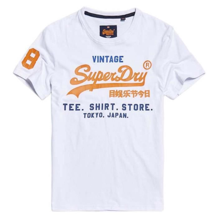 Vêtements homme T-shirts Superdry Shirt Shop Tri Blanc Blanc - Achat ... b6b780bb42e3