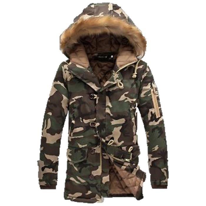 Doudoune homme Camouflage hiver épaississement Capuche à col
