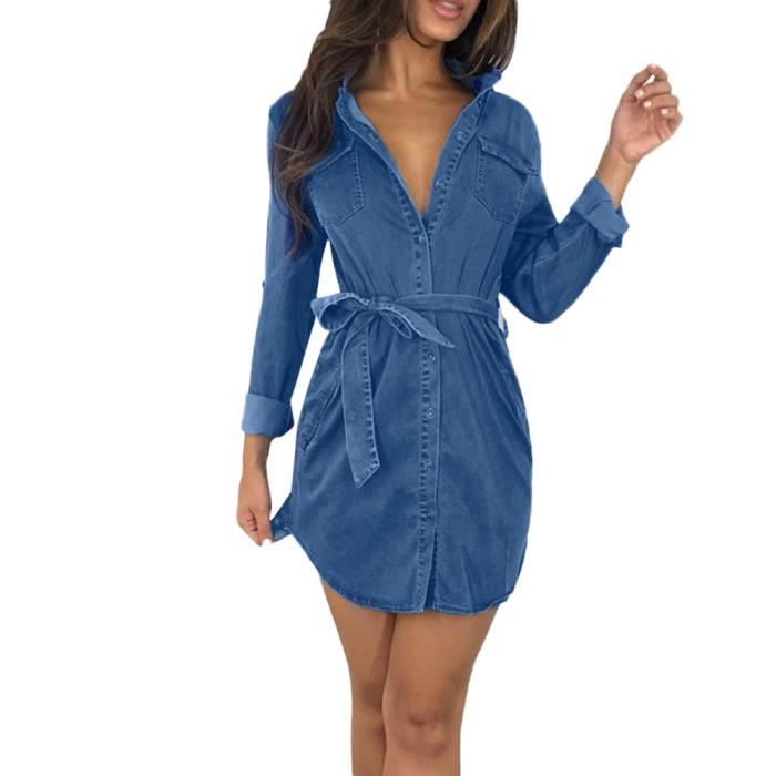 Bouton Femmes Bas Denim Jeans Robe femme Belted longues Hauts Robe chemise  TRY1405 dd95b9afdc6