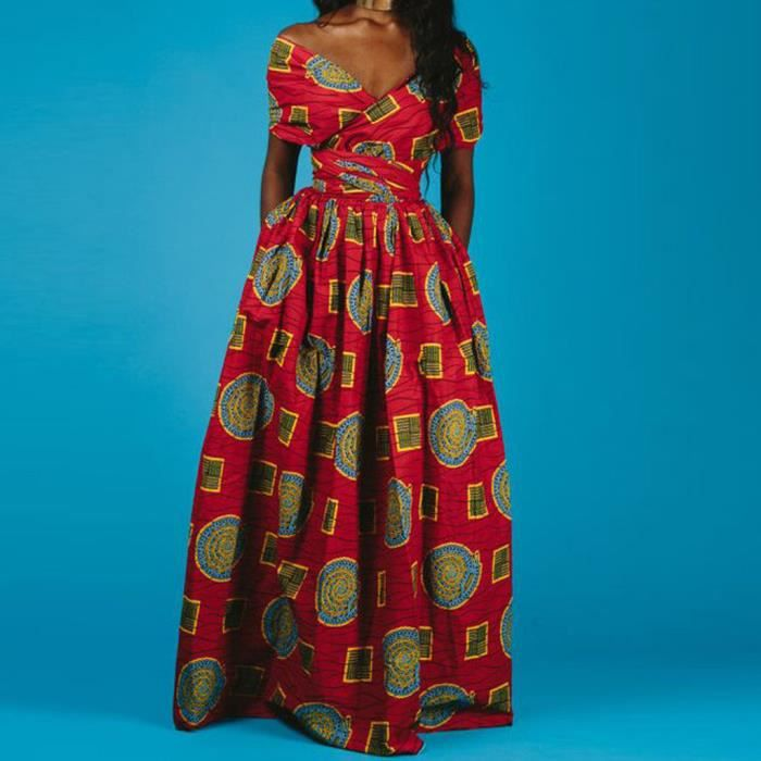 Femmes Impression Africaine Robe Longue Sans Manches Parti Dashiki Robe Rouge Rouge Achat Vente Robe Cdiscount