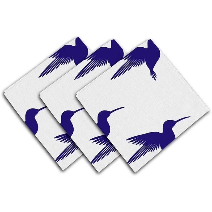 la cuisine la d/écoration de f/ête de No/ël Serviettes de table r/éutilisables pour la maison Zhark Lot de 6 serviettes de table modernes ovales en tissu bleu marine et blanc 50,8 x 50,8 cm