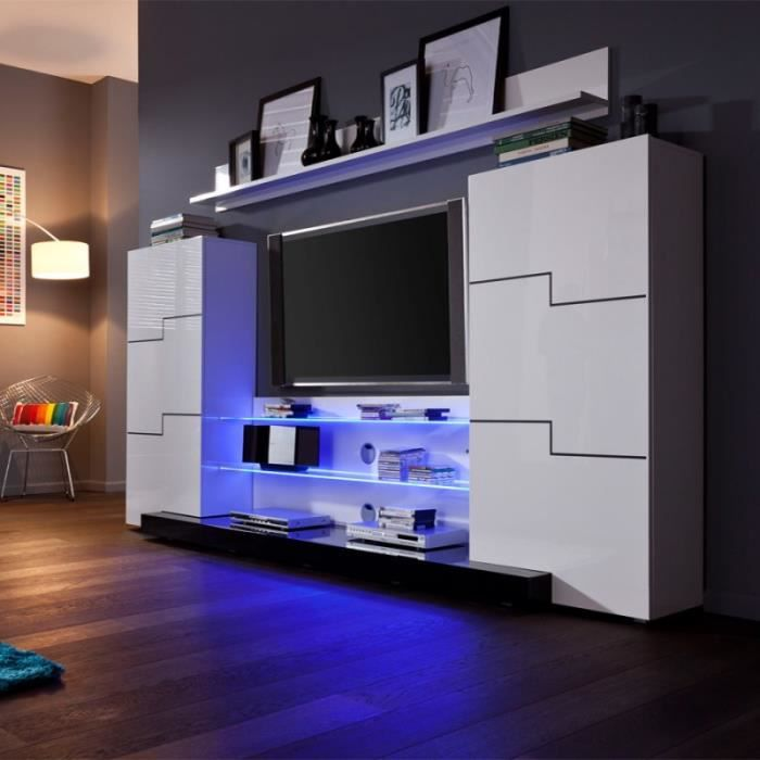 ensemble meuble tv led blanc laqu achat vente meuble tv ensemble meuble tv led bla. Black Bedroom Furniture Sets. Home Design Ideas