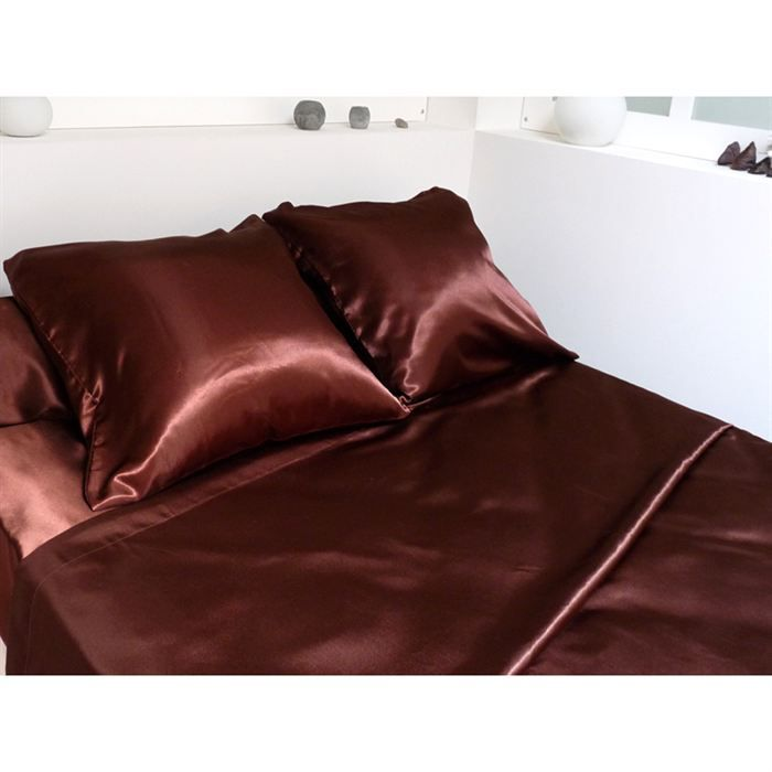 parure de lit satin chocolat achat vente parure de drap cdiscount. Black Bedroom Furniture Sets. Home Design Ideas