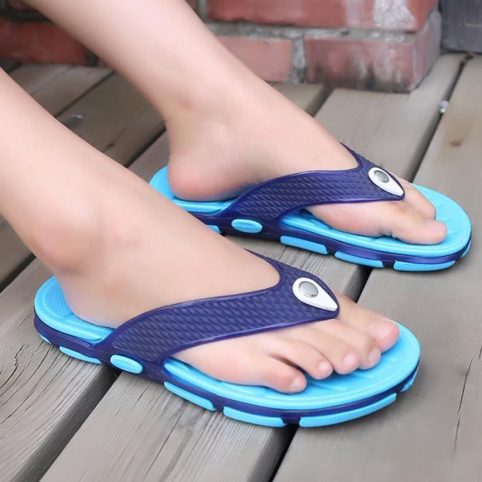 d'été décontracté appartements les chaussures antidérapantes plage pantoufles femmes noir