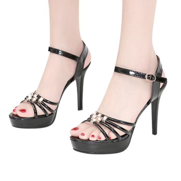 Femmes Sandales à bout ouvert sandales d'été de mode sauvages cheville boucle talon haut de chaussures Noir