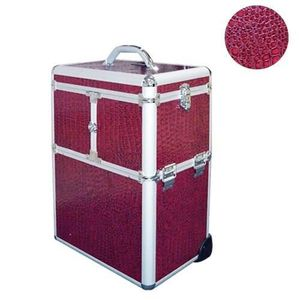 VALISE - BAGAGE Valise Trolley Maquillage et manucure Croco Pourpr