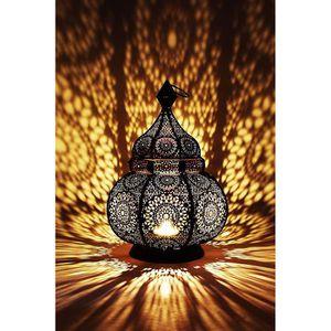 PHOTOPHORE - LANTERNE Petite Lanterne marocaine en métal Ziva 30cm noir