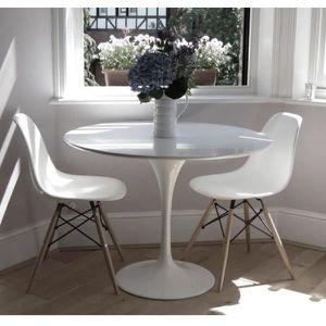 TABLE À MANGER SEULE Table Ronde Eero Saarinen Tulip Blanc Laquée