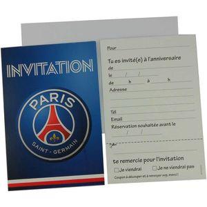 FAIRE-PART - INVITATION Lot de 6 cartes d'invitation PSG avec enveloppes