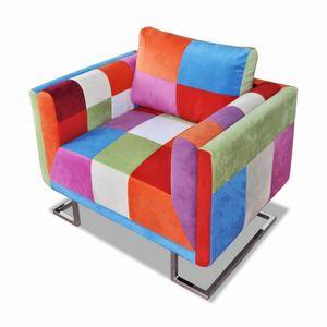 FAUTEUIL Fauteuil cube avec design de patchwork Chrome Tiss