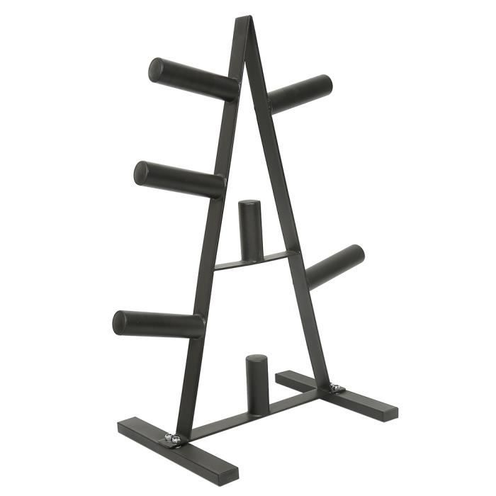 Support pour Poids Disques Support de Barre d'Haltère Max 200 kg Rack de Rangement pour Entraînement Musculation Fitness