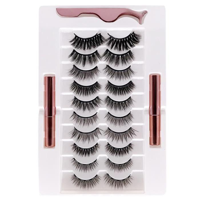 Kit Eyeliner et Cils Magnetics Cils Magnety avec Eyeliner Faux Cils Réutilisables 10 paires avec pince à épiler