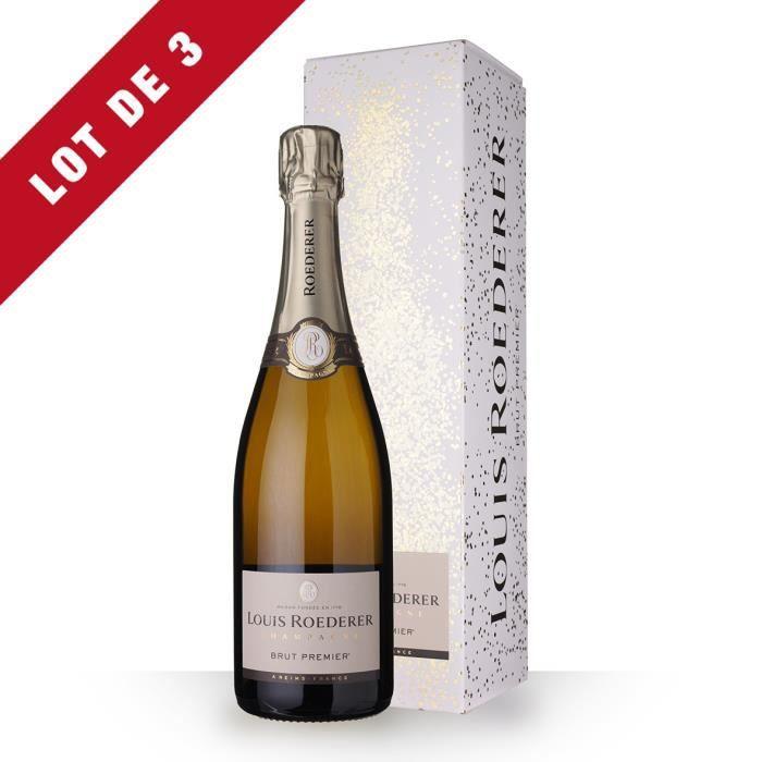3X Louis Roederer 1er Brut 75cl - Etui - Champagne