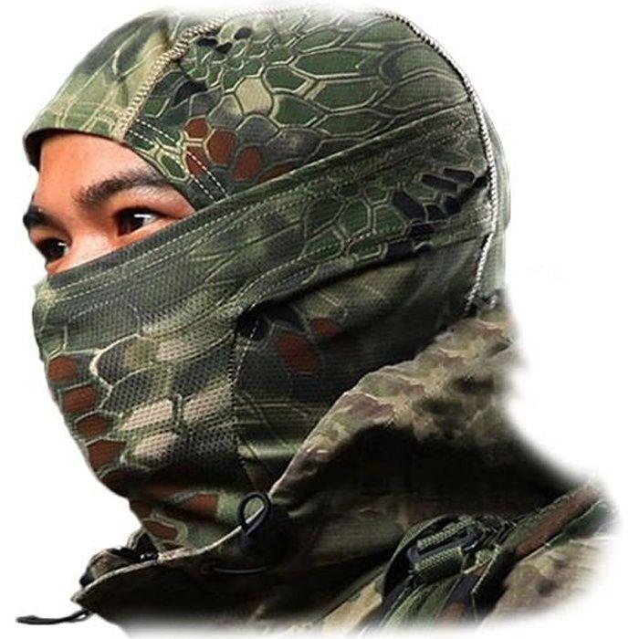 Cagoule camouflage en coton * aille : unique adulte * Matière : coton * Couleur: camouflage * Séchage rapide, tissu respirant