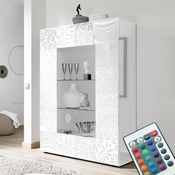 Vaisselier lumineux design blanc laqué NERINA L 121 x P 42 x H 166 cm Blanc