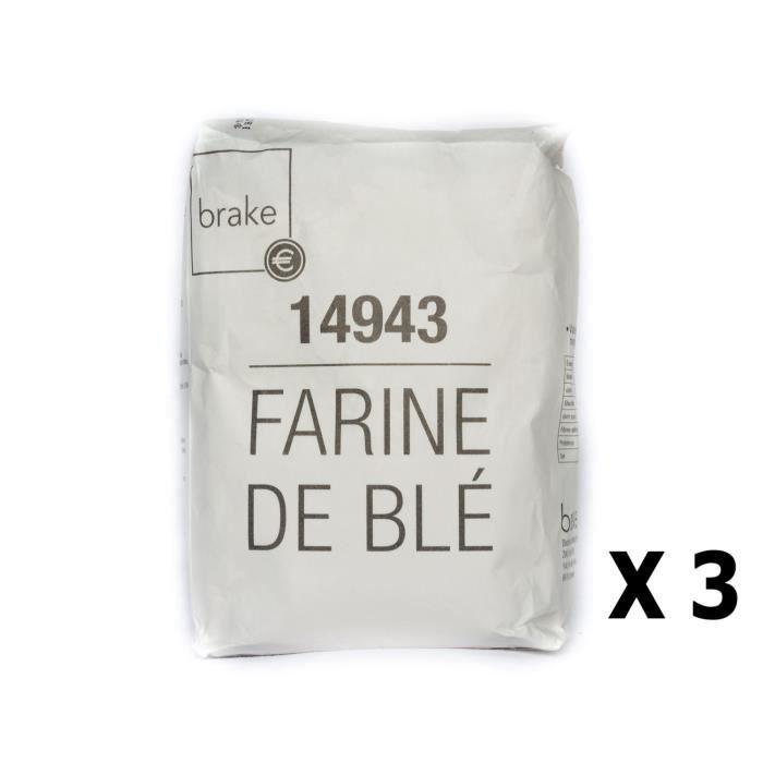 Lot 3x Farine de blé T55 - Brake - paquet 1kg