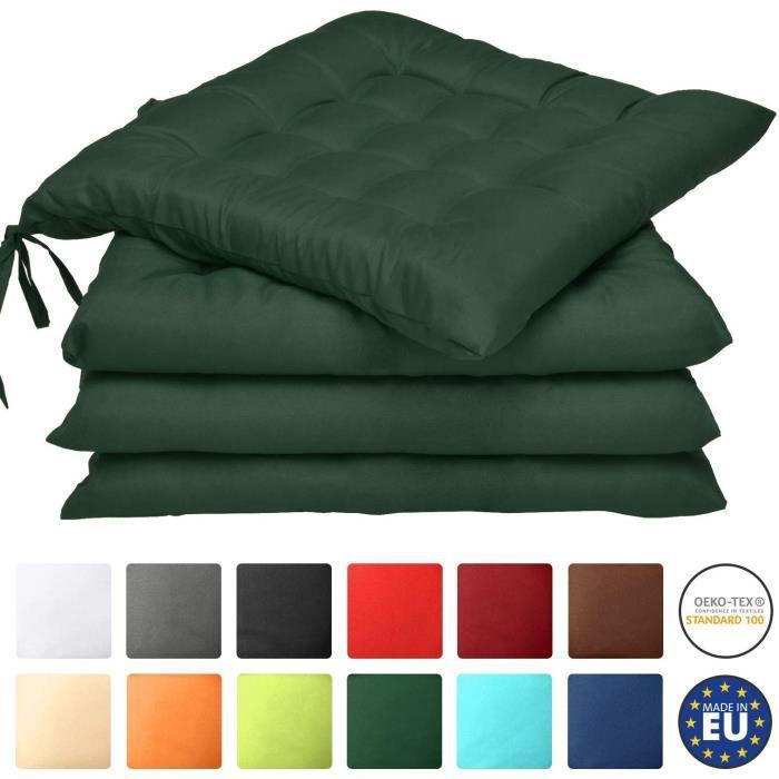 Beautissu Lot de 4 galettes de Chaise Lea - Confortable et coloré - Idéal pour intérieur et extérieur - 40x40x5 - Vert foncé