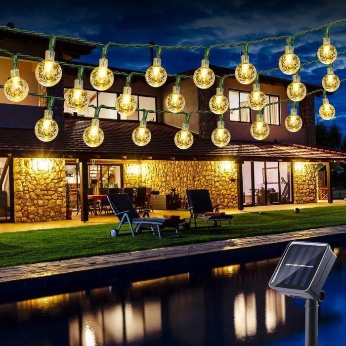 Guirlande Solaire Exterieure 6.5M 30 LED Guirlandes Lumineuses Boules 8 Modes Etanche lampe solaire exterieu Décorative pour