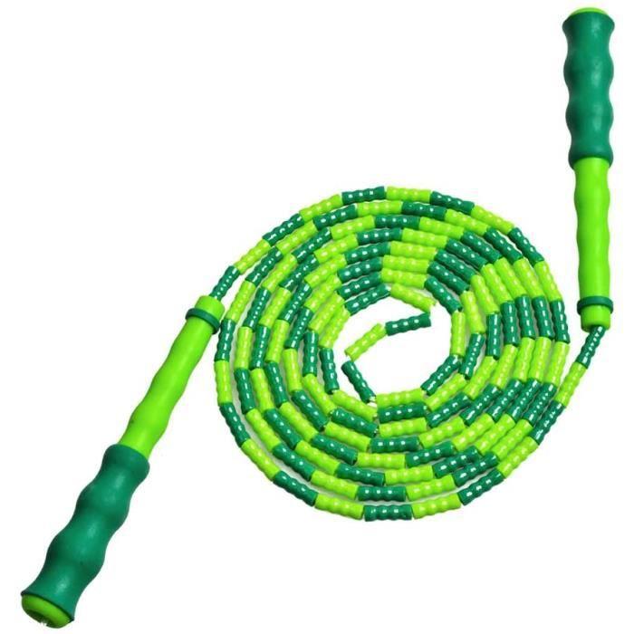 Corde à sauter, Corde à sauter à segment en perles souples, pour l'entraînement, l'exercice, et la perte de poids, Vert