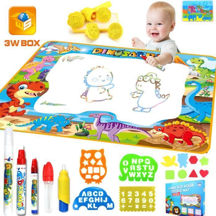 MARSEE Tapis Doodle, Dinosaure Tapis Dessin Eau 100*70cm Magic Matte, Jouets Educatifs pour Enfants 3 ans - 6 ans
