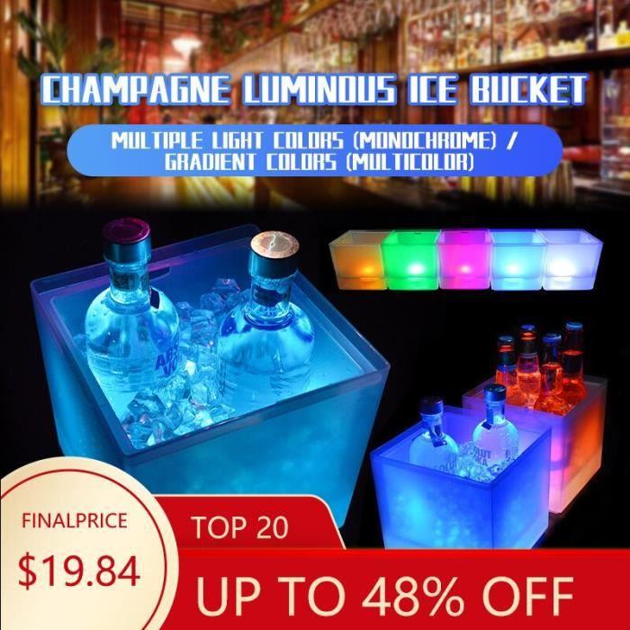 LED seau à glace 3.5L LED refroidisseur seau coloré changeant Double couche carré bac à glace pour Bar bière Champagne v*DE15484