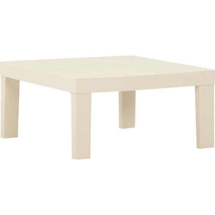JAR Table de salon de jardin Table basse stable Plastique Blanc ,size:65 x 65 x 33 cm-6912
