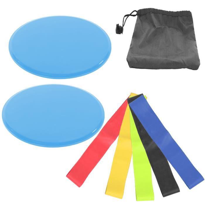 Exercice de sport Disques à disques coulissants Entraînement d'entraînement de curseur Tapis de glissière(bleu )-CHD