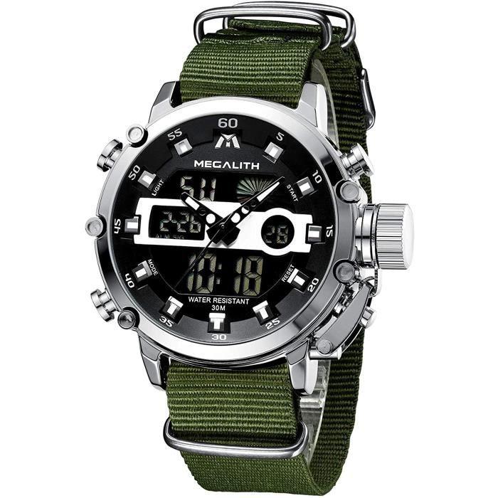 MEGALITH Montre Homme Militaire Sport pour Homme Etanche Chronographe Alarme Date LED Digitale Analogique Montres Bracelet Grand Cad