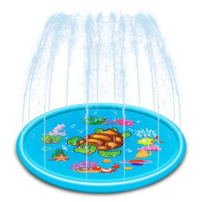 Atyhao Tapis de jeu arroseur SL001-21 110cm Tapis de jeu d'extérieur pour gicleurs Tapis de jet d'eau gonflable pour enfants Jouets