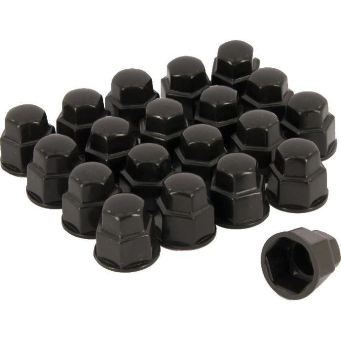 bouchons d'écrou de roue 19 mm plastique noir 20 pièces