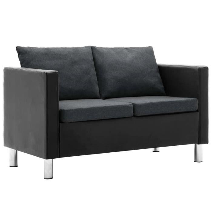 FAS Canapé à 2 places Simili-cuir Noir et gris foncé