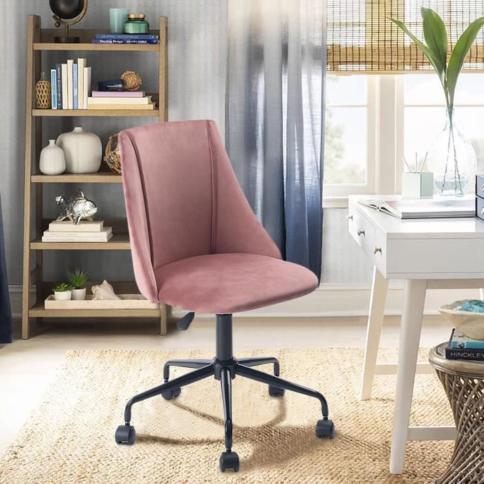 Chaise de bureau Velours Métal Rose Noir Réglable Pivot Home Office Moderne Tendance Design Ergonomique Confortable