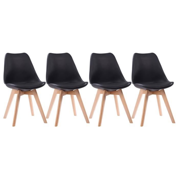 Lot de 4 chaises scandinave NORA noires avec coussin