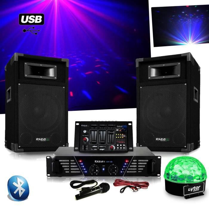 Pack Sono DJ300 ampli + enceintes 500W + Table de mixage USB BLUETOOTH + Astro SIXMAGIC LED RVB