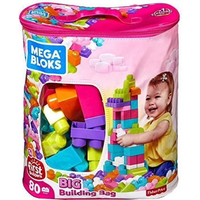 Mega Bloks Sac rose, jeu de blocs de construction, 80 pièces, jouet pour bébé et enfant de 1 à 5 ans, DCH62 DCH62