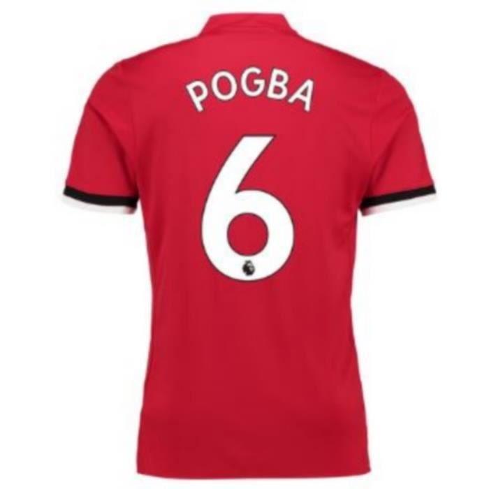 Maillot Homme Adidas Manchester United Home Flockage Officiel Pogba Numéro 6 Saison 2017-2018
