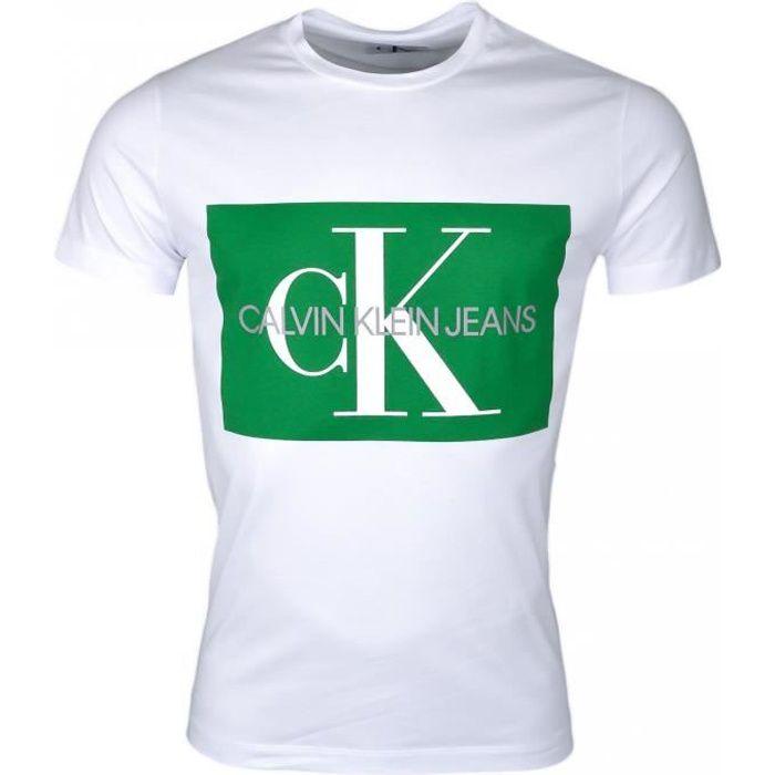 T-shirt col rond Calvin Klein blanc à carré vert pour homme - Couleur: Blanc - Taille: M