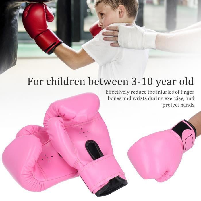 2pcs Gants de Boxe pour Enfants Gants de Frappe Taekwondo de Combat d'Entraînement (Rose)