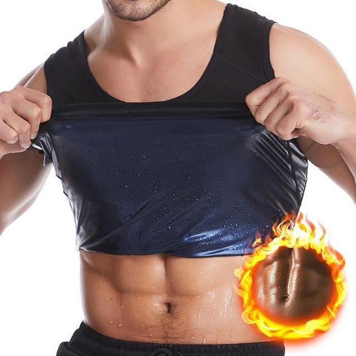Débardeur de Sudation pour Homme Gilet de Minceur Fitness T-Shirt Effet Sauna Sport Body Shaper