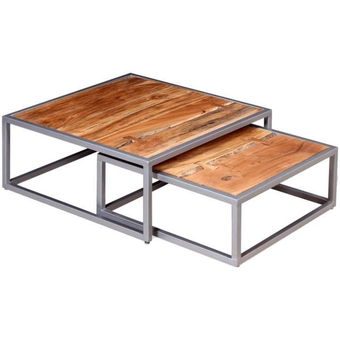Ensemble de Table basse design scandinave salon contemporain 2 pièces Bois d'acacia massif